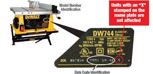 "The location of the model number and date code are shown on the photography below. Products stamped with an ""X"" following the date code are not affected."